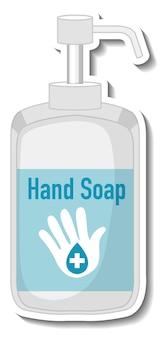 Un modello di adesivo con disinfettante per sapone per le mani isolato