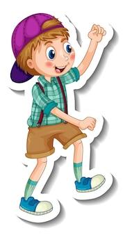 Modello di adesivo con un personaggio dei cartoni animati del ragazzo felice isolato