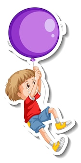 Sticker template with a happy boy cartoon character isolated