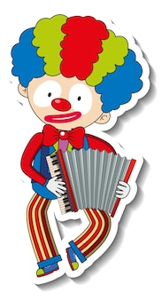 Sticker template with happy clown cartoon character isolated
