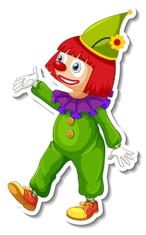 Sticker template with happy clown cartoon character