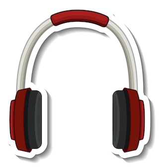A sticker template with headphones isolated
