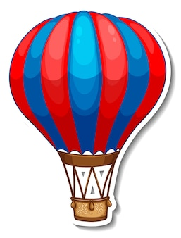 Sticker template with hot balloon air in cartoon style
