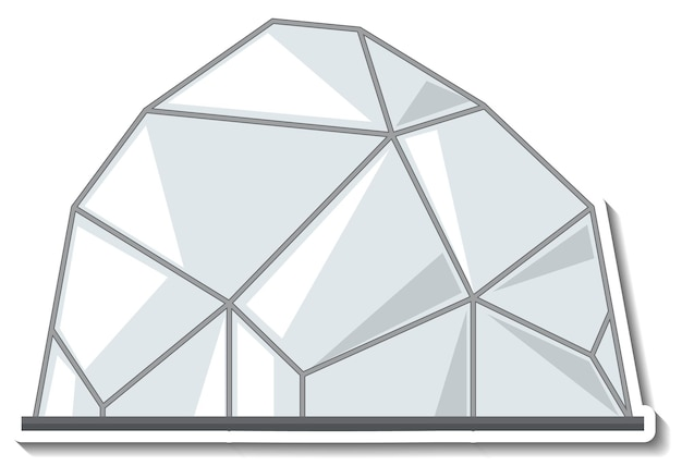 Sticker template with an igloo house  in cartoon style isolated