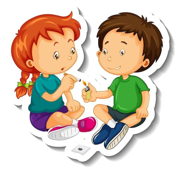 Шаблон наклейки с детьми, пытающимися курить сигарету, мультяшный персонаж изолирован