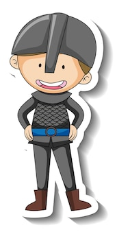Sticker template with a knight boy cartoon character isolated