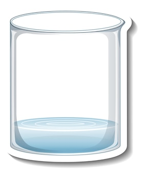 A sticker template with laboratory glassware isolated