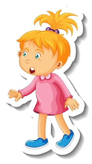 Sticker template with a little girl cartoon character isolated