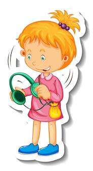 Modello di adesivo con un personaggio dei cartoni animati della bambina isolato