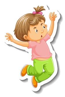 Modello dell'autoadesivo con un personaggio dei cartoni animati di salto della bambina isolato