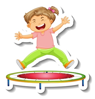 Sticker template with a little girl jumping on trampoline cartoon character isolated