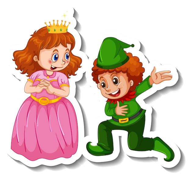 Modello di adesivo con la piccola principessa e un personaggio dei cartoni animati del ragazzo isolato