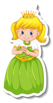 Sticker template with a little princess cartoon character isolated