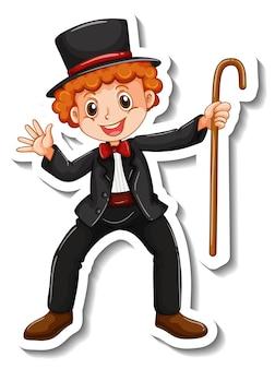 Modello di adesivo con un personaggio dei cartoni animati del ragazzo mago isolato