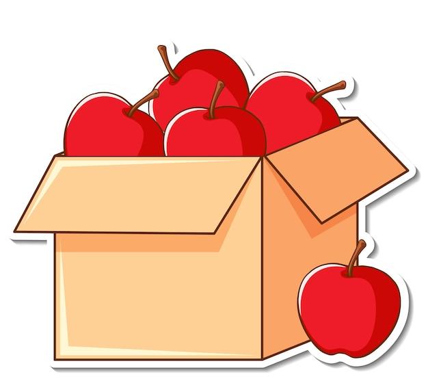 箱の中にたくさんのリンゴが入ったステッカーテンプレート