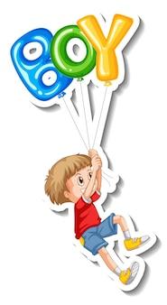 Шаблон стикера с множеством воздушных шаров, летающих с мальчиком