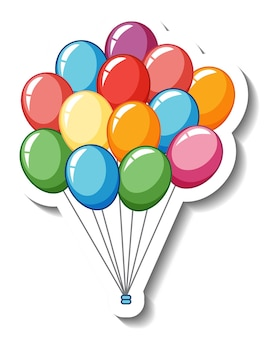 Sticker template with many balloons isolated