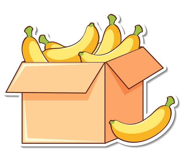 箱の中にたくさんのバナナが入ったステッカーテンプレート