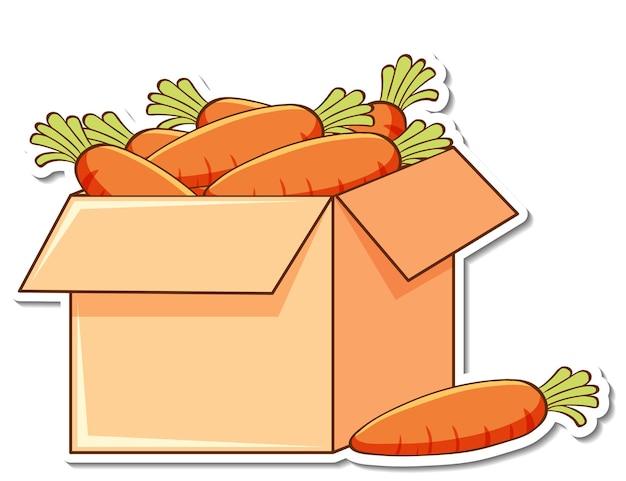 상자에 많은 당근이 있는 스티커 템플릿