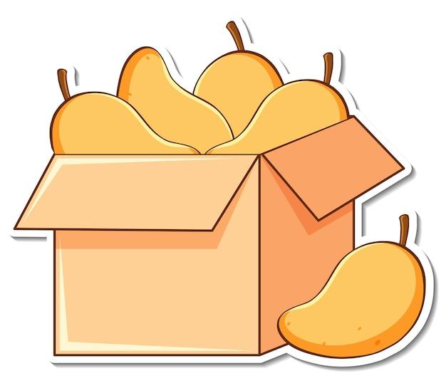 Modello di adesivo con molti mango in una scatola