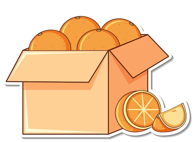 Sticker template with many oranges in a box