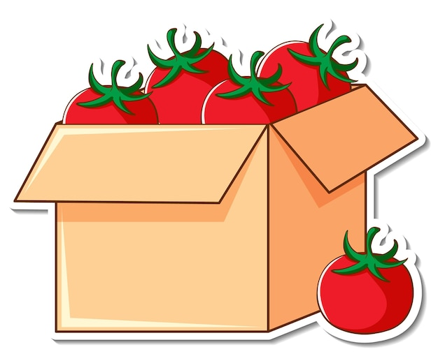 상자에 많은 토마토가 있는 스티커 템플릿