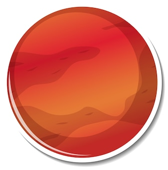 Sticker template with mars planet isolated
