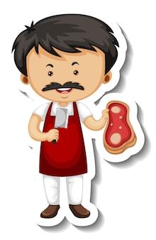 Modello di adesivo con un personaggio dei cartoni animati dell'uomo venditore di carne isolato