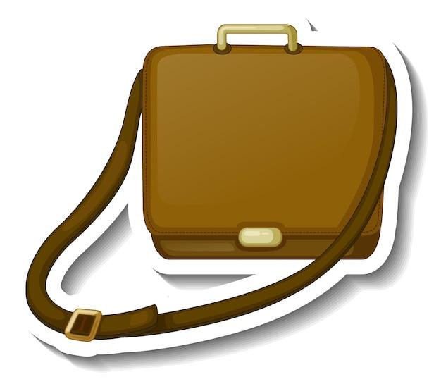 Un modello di adesivo con una borsa a tracolla da uomo isolata