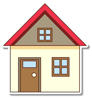 A sticker template with mini house isolated