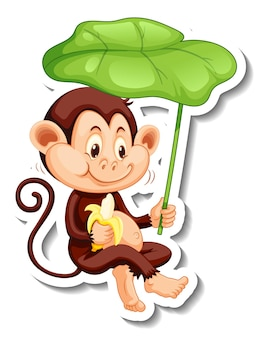 Sticker template with a monkey holding a leaf on white background