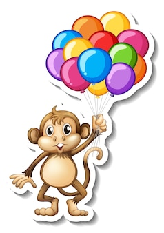 Sticker template with a monkey holding many balloons