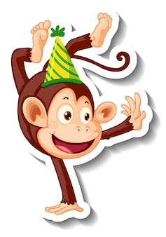 A sticker template with a monkey wearing party hat