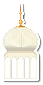 A sticker template with mosque building isolated