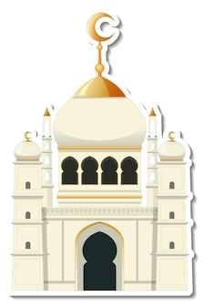 Un modello di adesivo con l'edificio della moschea isolato