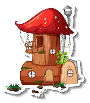 A sticker template with mushroom house isolated