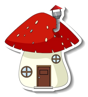 Sticker template with a mushroom house isolated