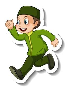 Modello di adesivo con un personaggio dei cartoni animati ragazzo musulmano isolato