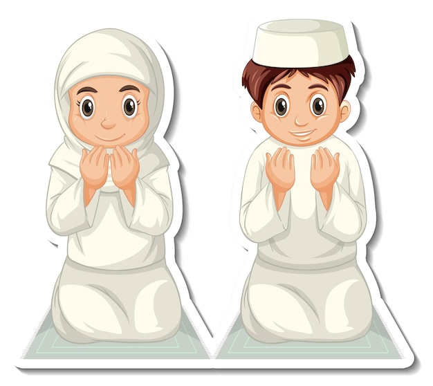 A sticker template with muslim boy and girl praying Free Vector