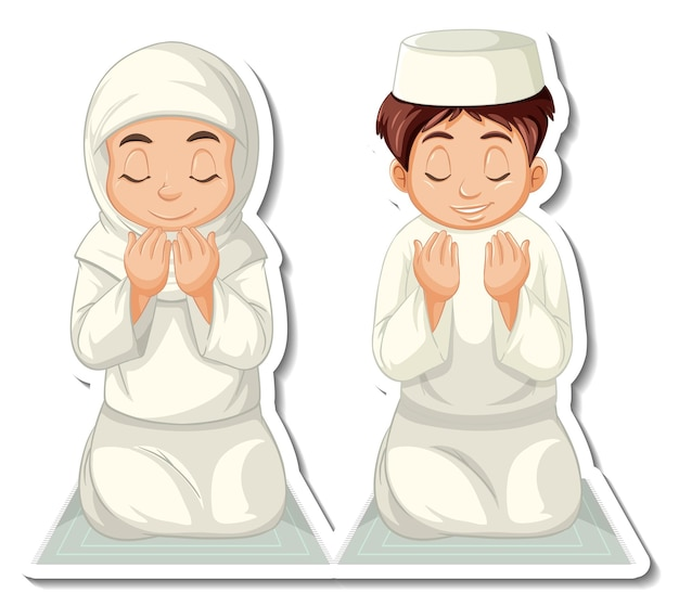 A sticker template with muslim boy and girl praying