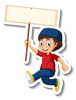 A sticker template with a muslim boy holding blank signboard isolated