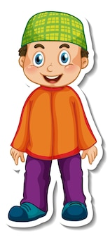 A sticker template with muslim boy in standing pose cartoon character