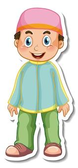 Un modello di adesivo con un ragazzo musulmano in posa in piedi personaggio dei cartoni animati