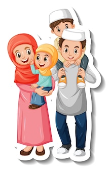 Sticker template with muslim family cartoon character