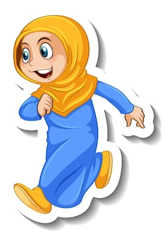 Sticker template with a muslim girl cartoon character isolated