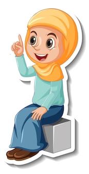 A sticker template with muslim girl cartoon character