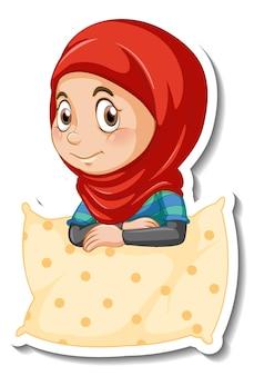 A sticker template with muslim girl hugs a pillow