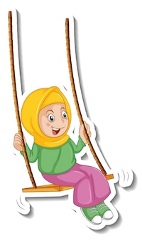 A sticker template with muslim girl playing swing cartoon character