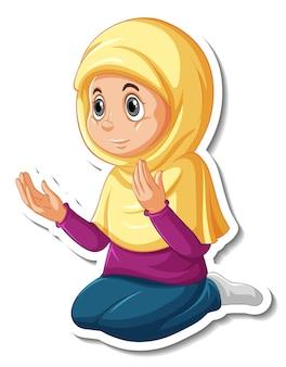 A sticker template with muslim girl praying cartoon character