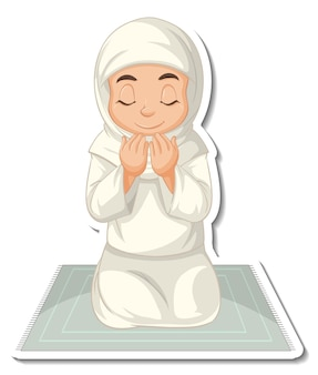 A sticker template with muslim girl sitting on rug and praying